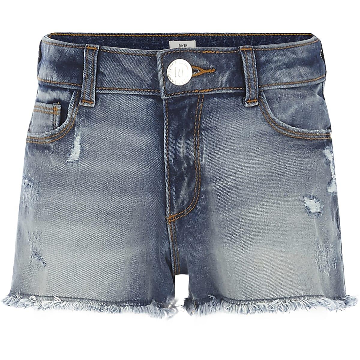 Girls blue distressed denim shorts
