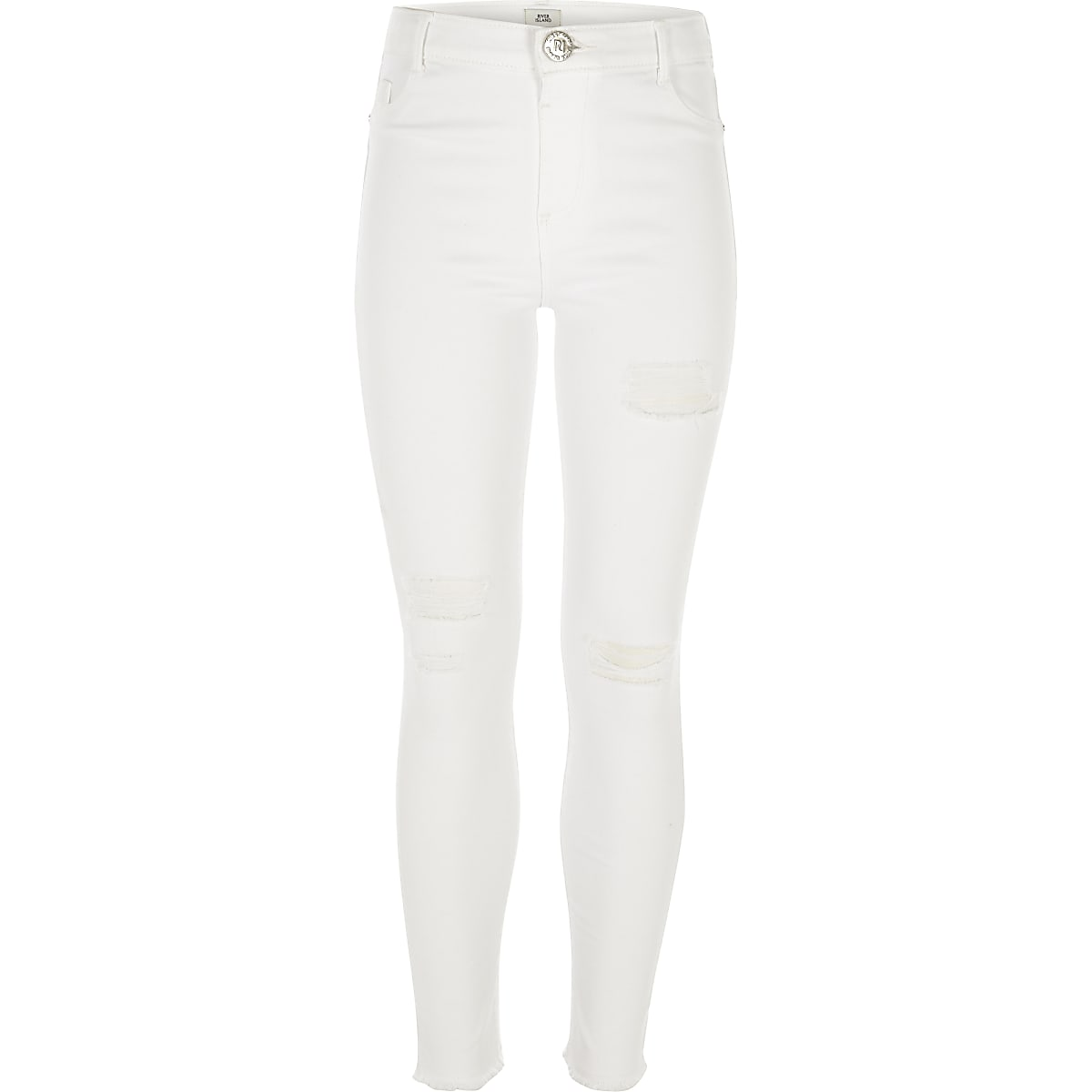 Girls white Amelie ripped skinny jeans