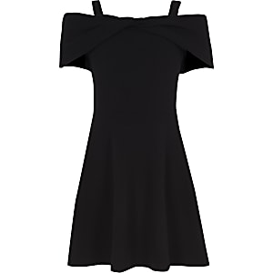 Girls black bow bardot skater dress