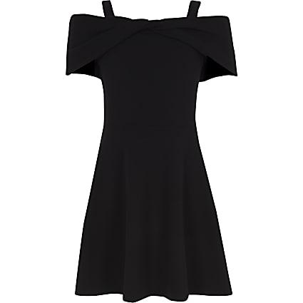 Girls black bow bardot skater dress