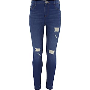 ​Girls blue Molly ripped skinny jeggings