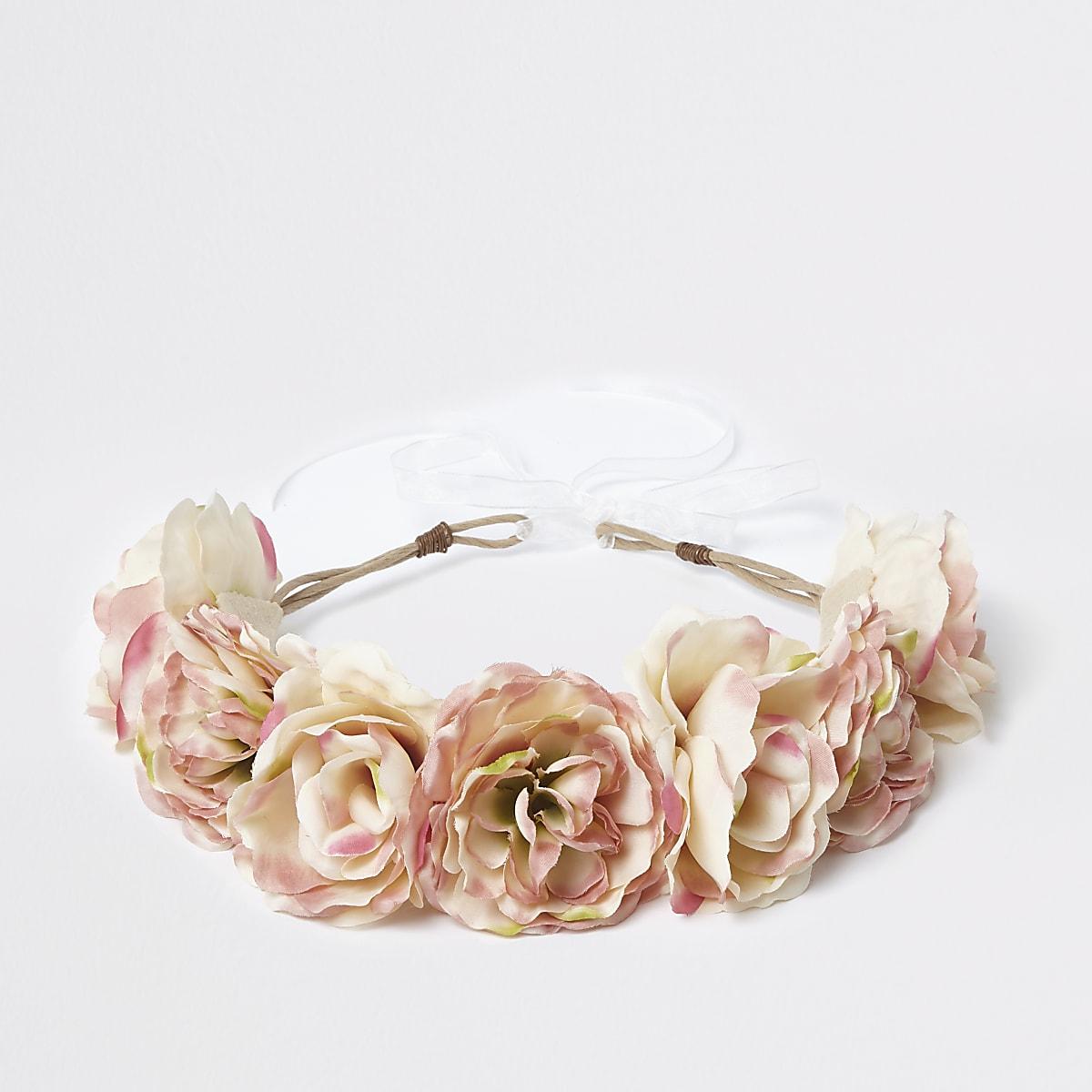 Girls cream flower garland tie-up head band