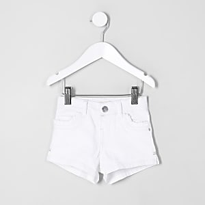 Mini girls white frill pocket denim shorts