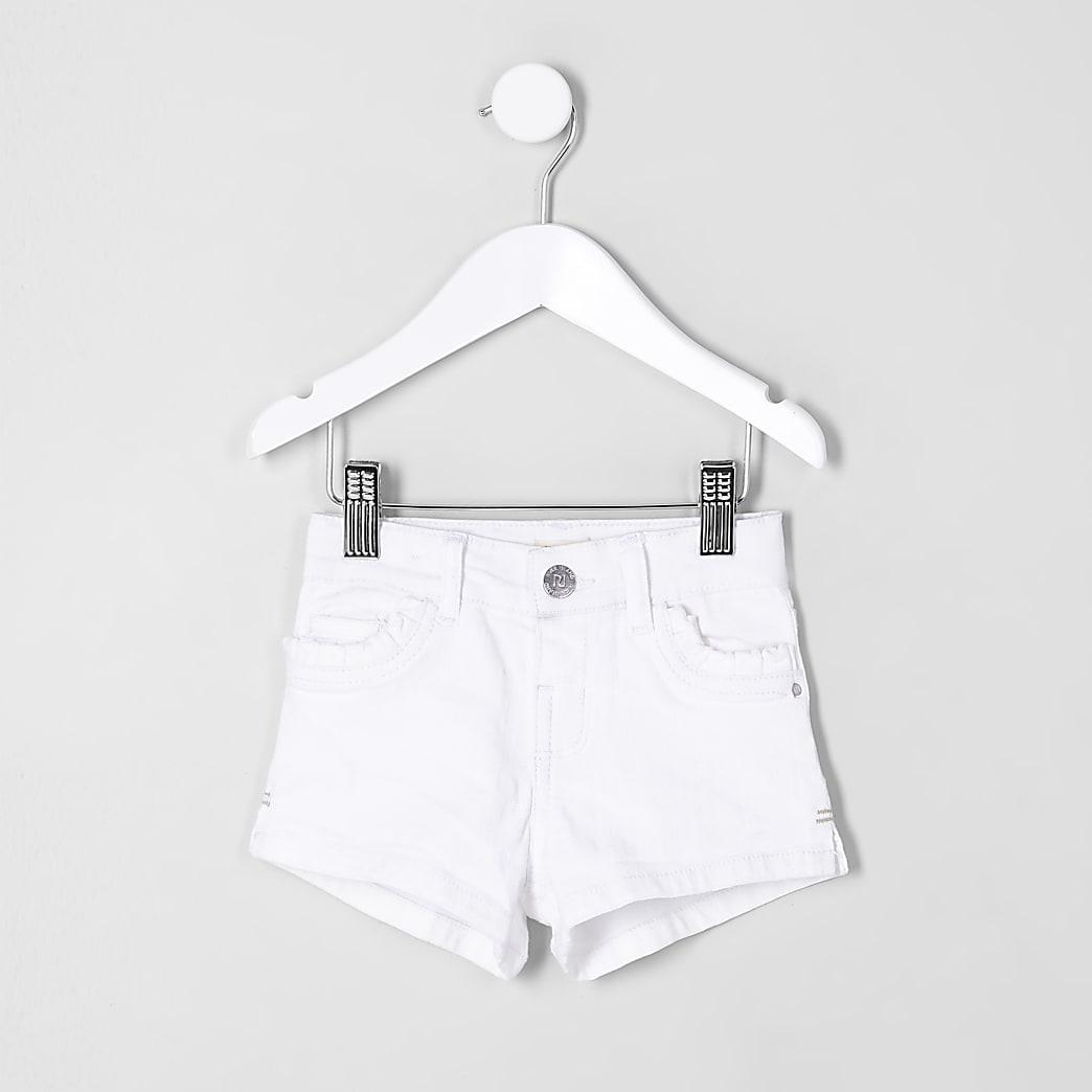 Mini - Witte denim short met zak en ruches voor meisjes