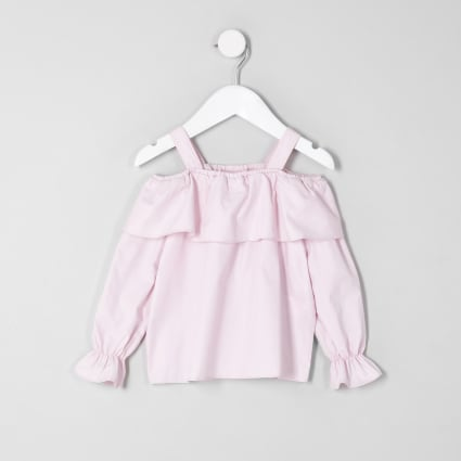 Mini girls pink frill cold shoulder top