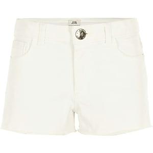 Witte gerafelde denim short voor meisjes