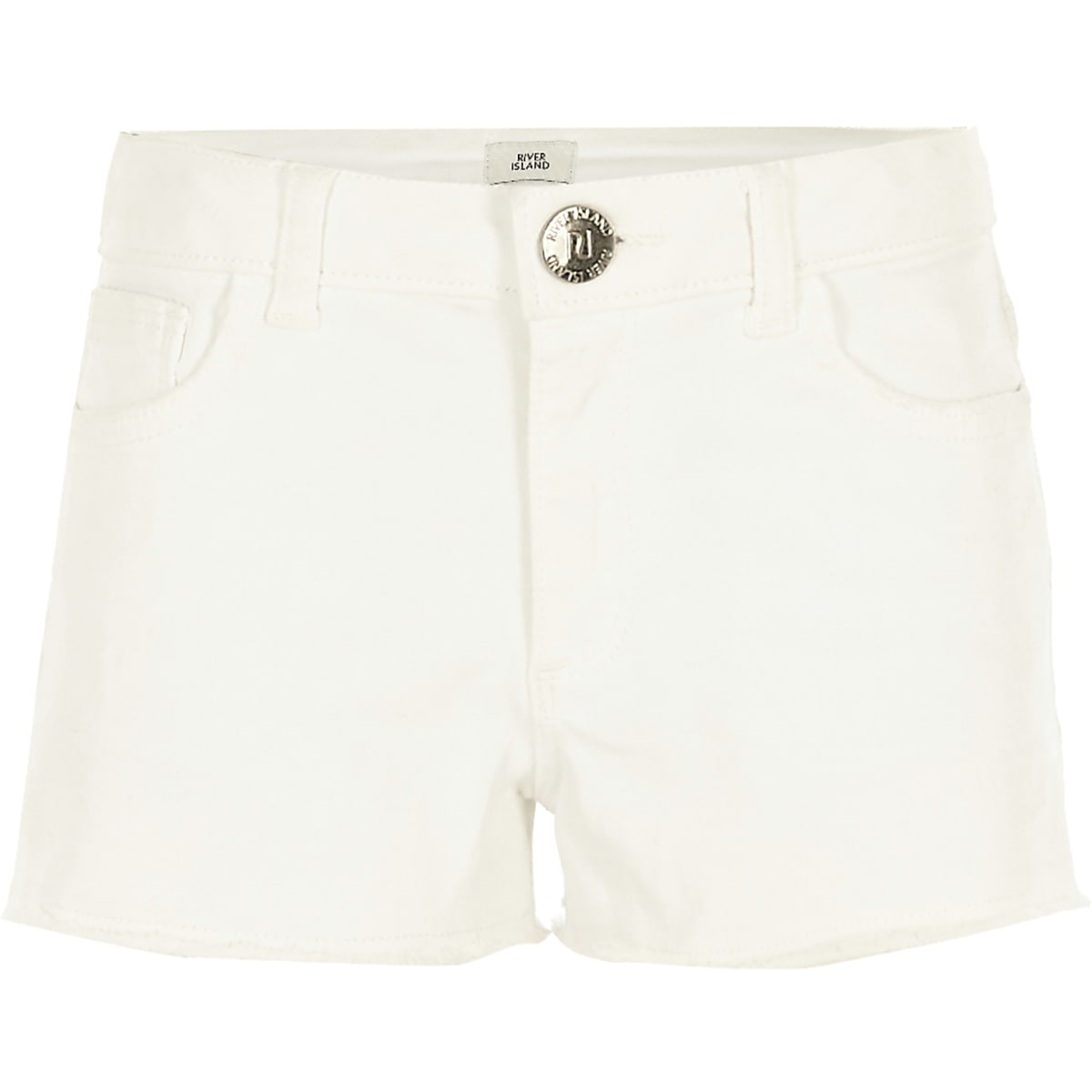 Girls white frayed denim shorts