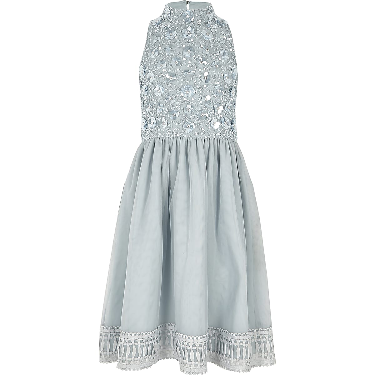 Girls blue embellished flower girls dress
