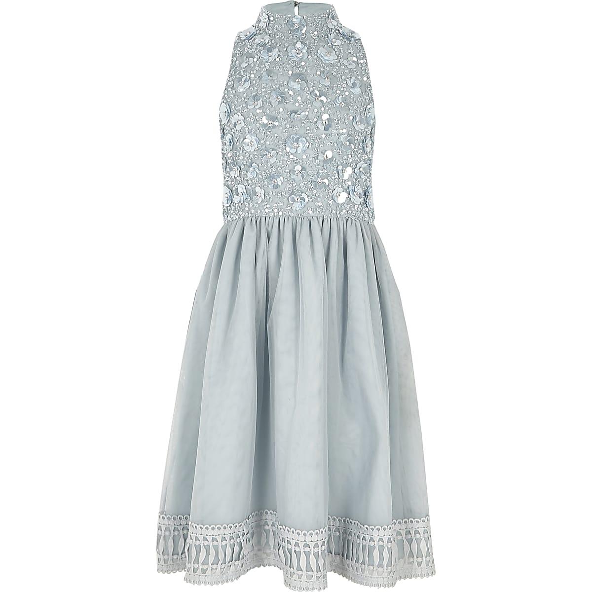 Blauwe verfraaide jurk voor bruidsmeisjes