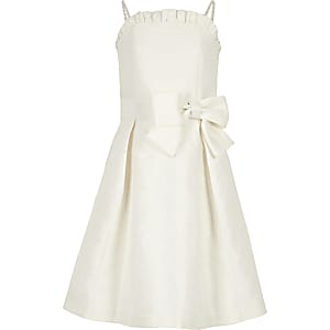 Girls white jacquard flower girl dress