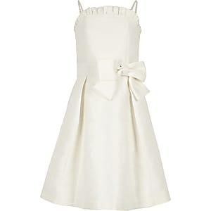 Robe de demoiselle d'honneur en jacquard blanche pour fille