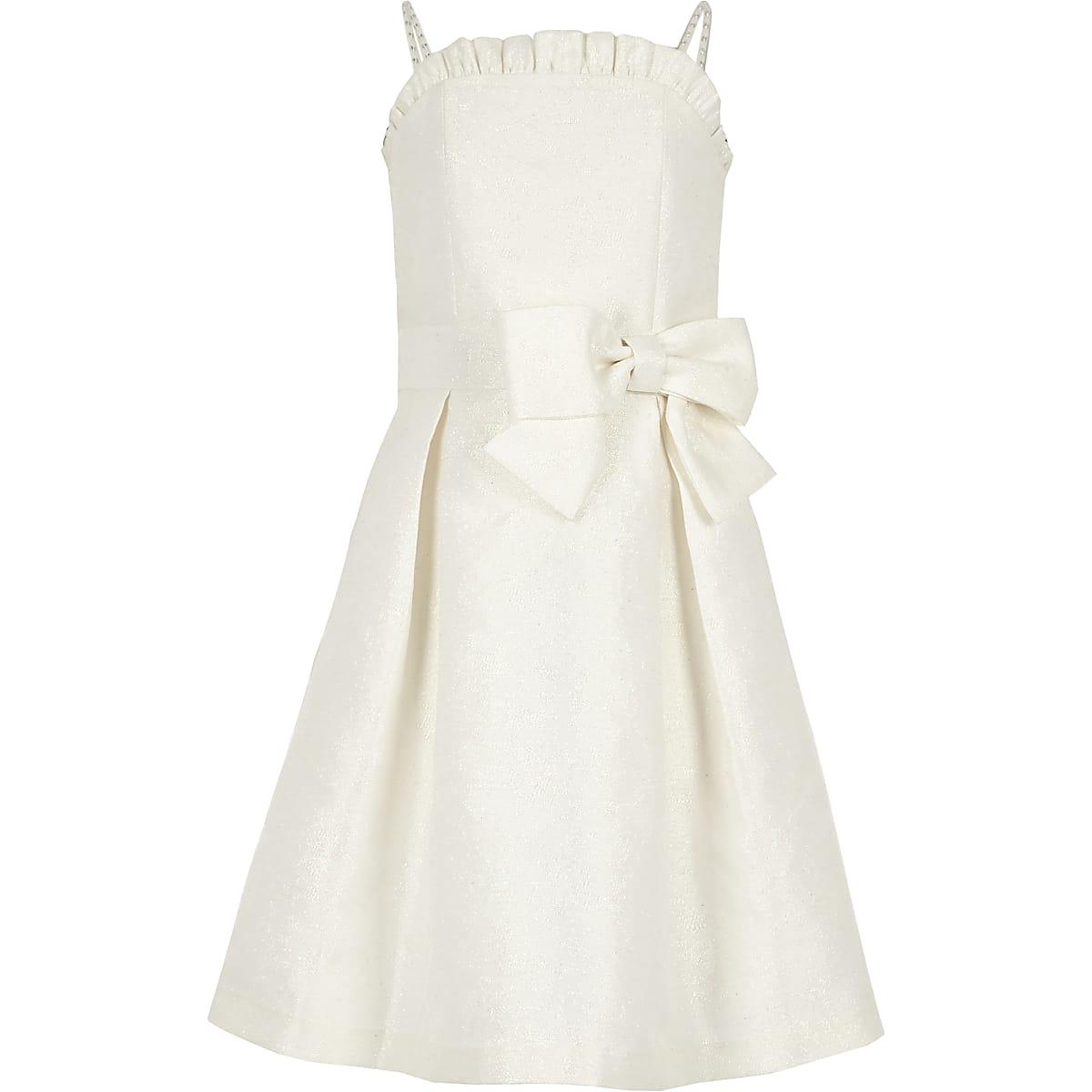 Witte jacquard bruidsmeisjesjurk voor meisjes