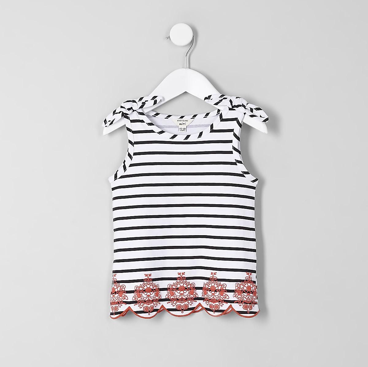 611084fea5 Mini girls white stripe bow shoulder vest top - Baby Girls Tops - Mini  Girls - girls