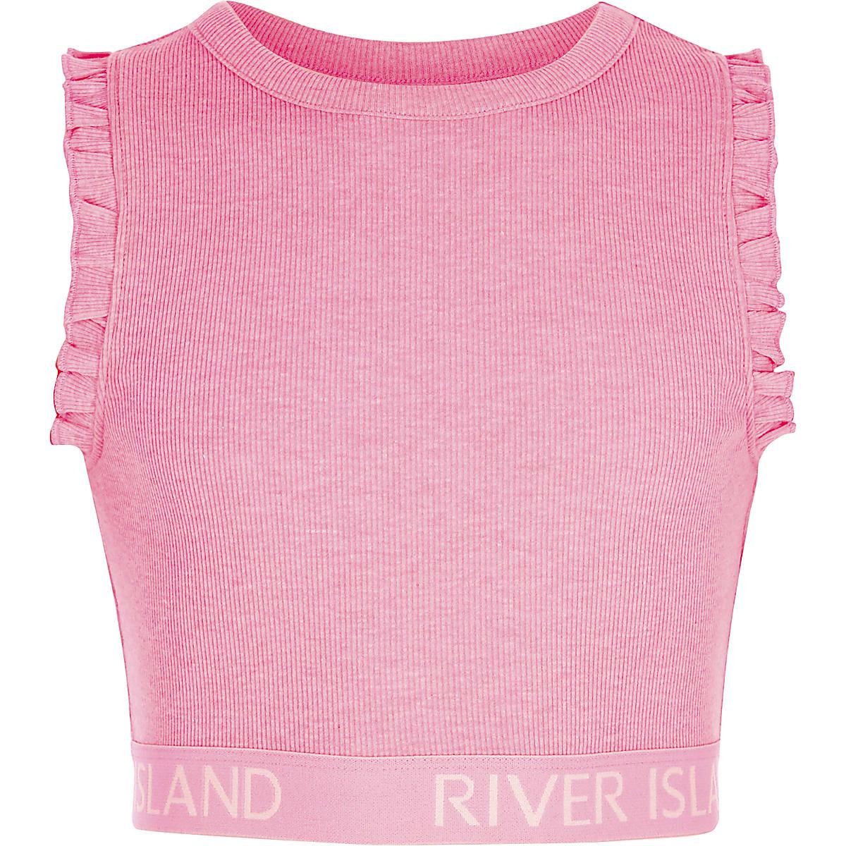 Girls pink rib RI hem frill sleeve crop top