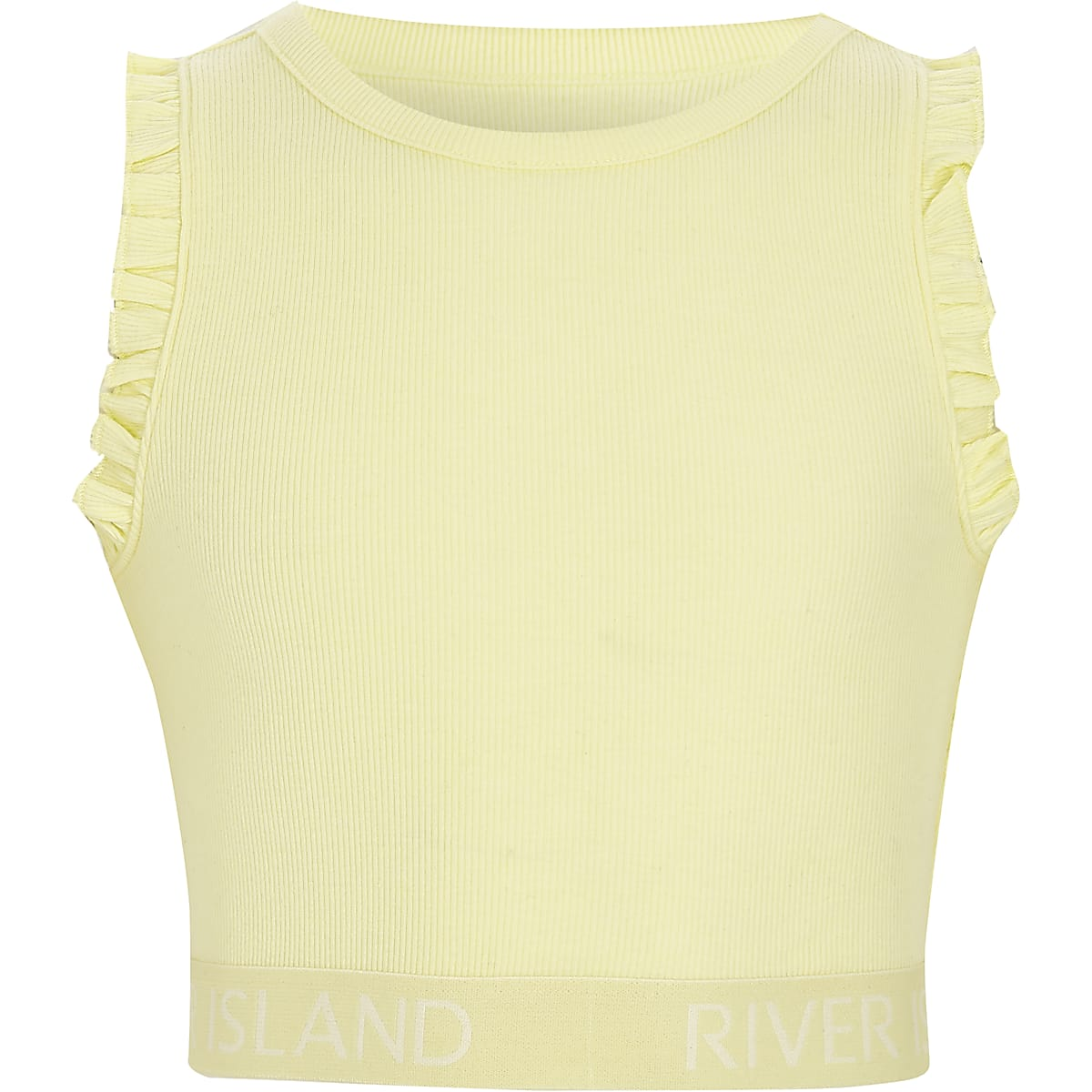 5baed3639b9 Girls yellow rib frill sleeve RI hem crop top - Vests & Camis - Tops - girls