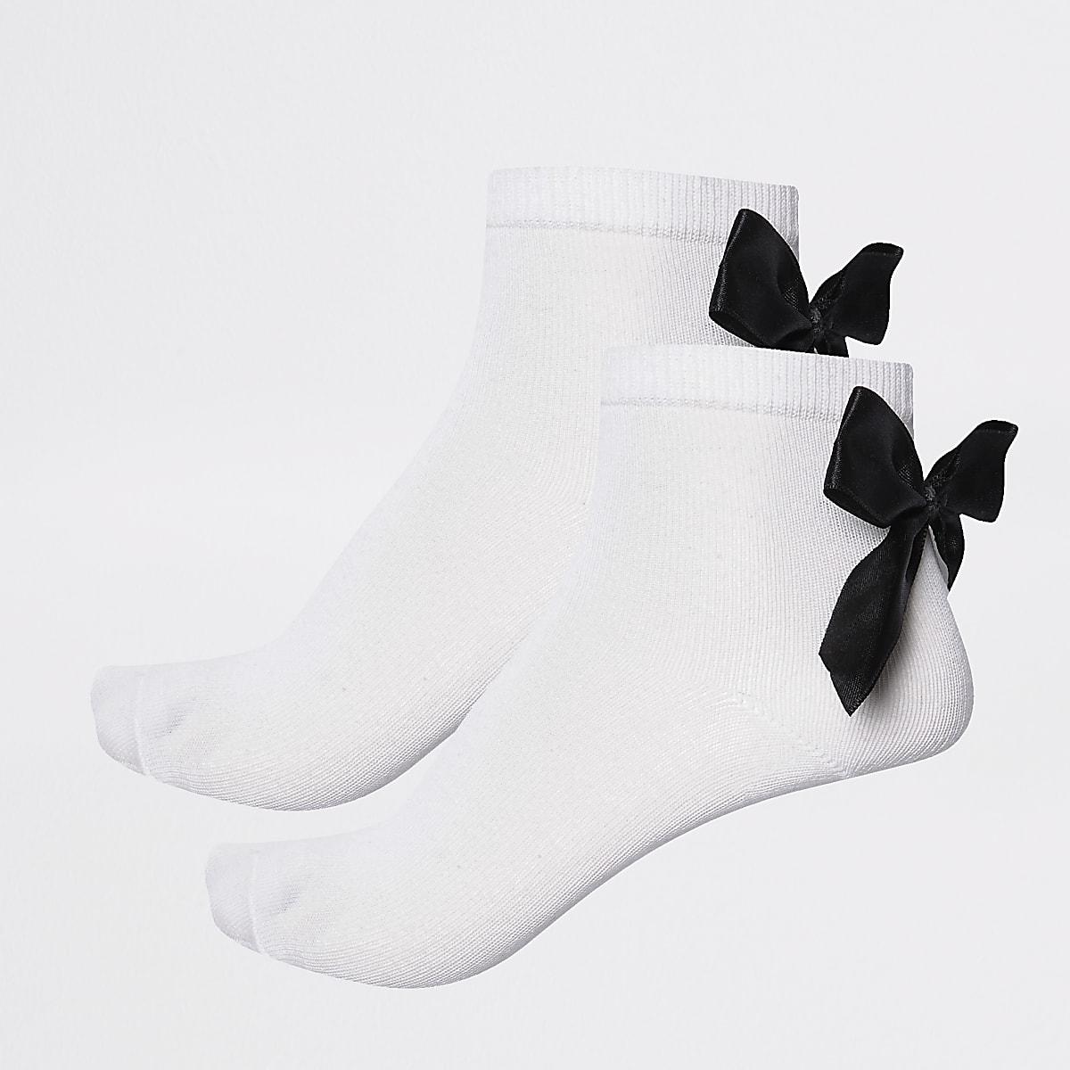 Girls black bow ankle socks multipack