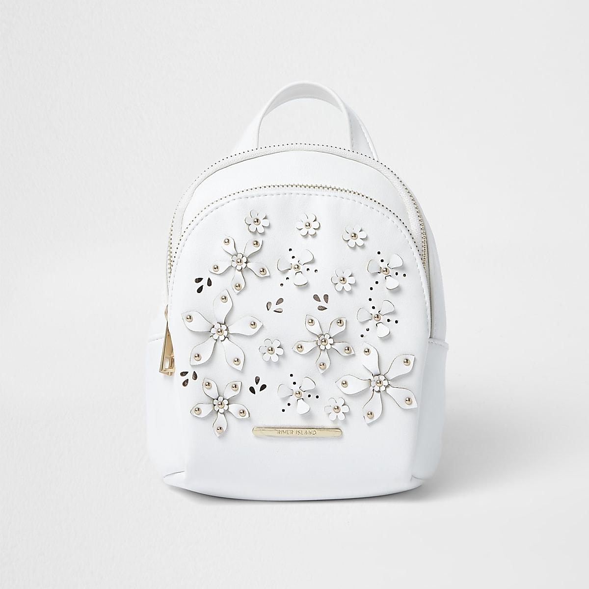 Sac à dos blanc à fleur en 3D pour fille
