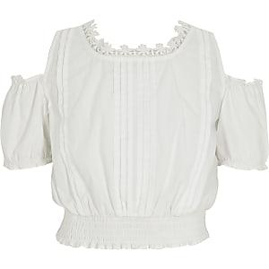 Crop top blanc à épaules dénudées pour fille