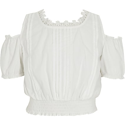 Girls white cold shoulder crop top