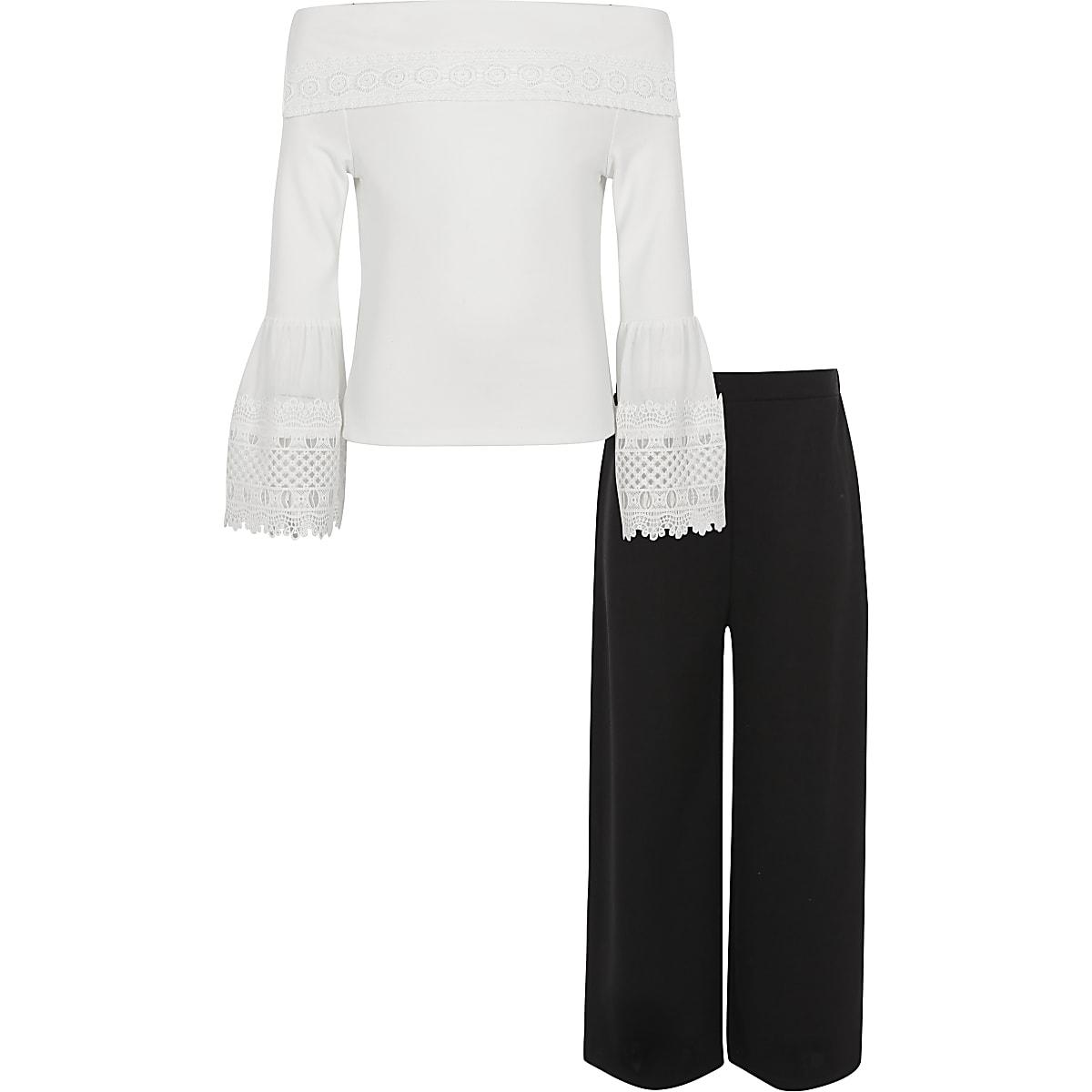 Outfit met witte kanten top en broek voor meisjes