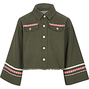 7f7079839a8 Girls khaki embellished wide sleeve shacket