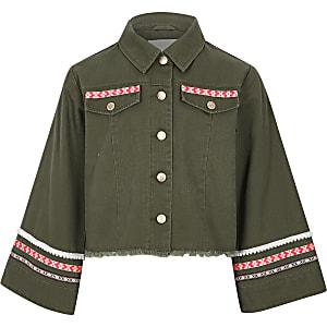 Khaki Jacke mit weiten Ärmeln