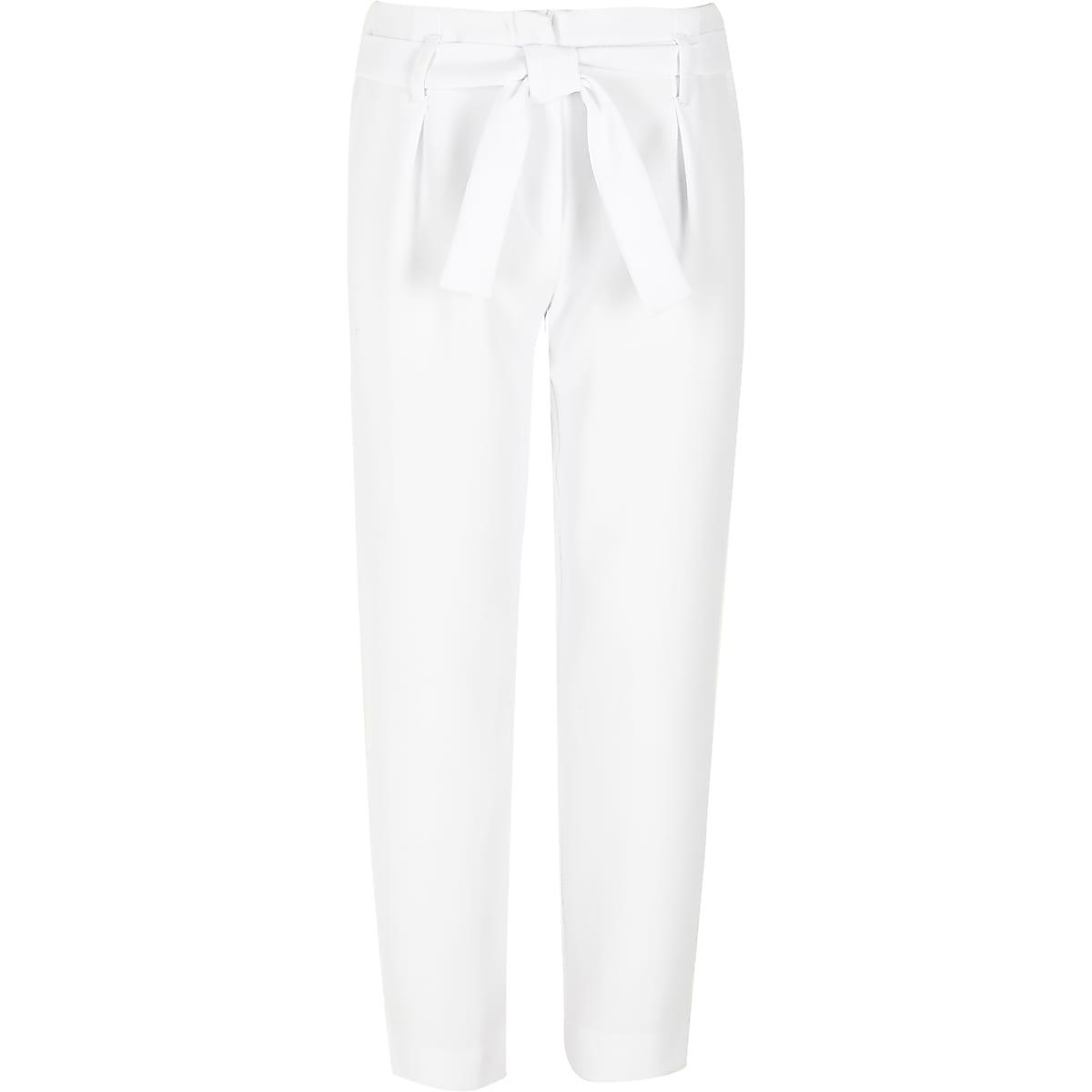 Girls white tie waist tapered trousers