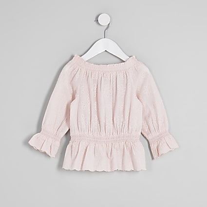 Mini girls pink broderie bardot top