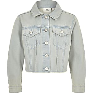 Chemise en jean bleu clair à ourlet effiloché pour fille