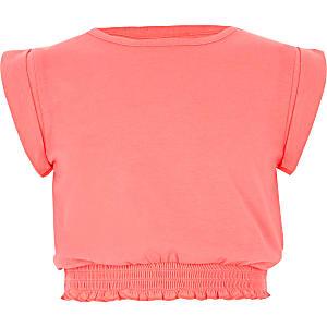 Girls coral shirred hem T-shirt