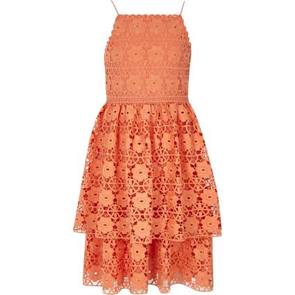 Girls orange tiered frill lace dress