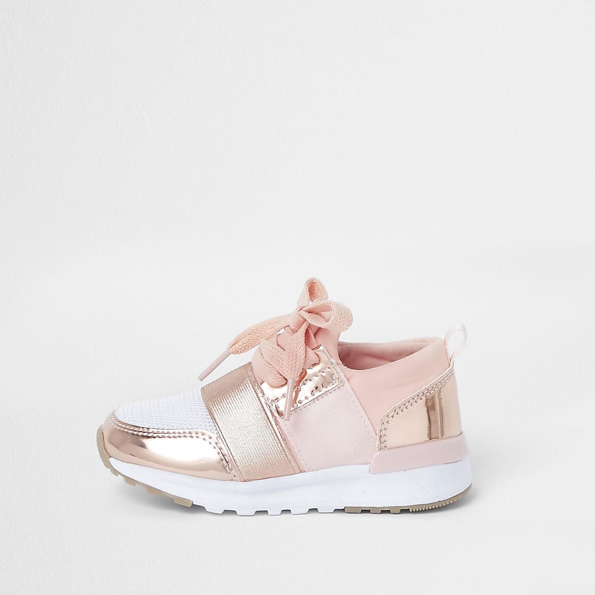 73cd847b1a26 Mini girls rose gold metallic runner trainers - Baby Girls Trainers - Baby  Girls Shoes   Boots - Mini Girls - girls