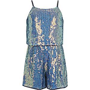 Girls blue sequin embellished romper