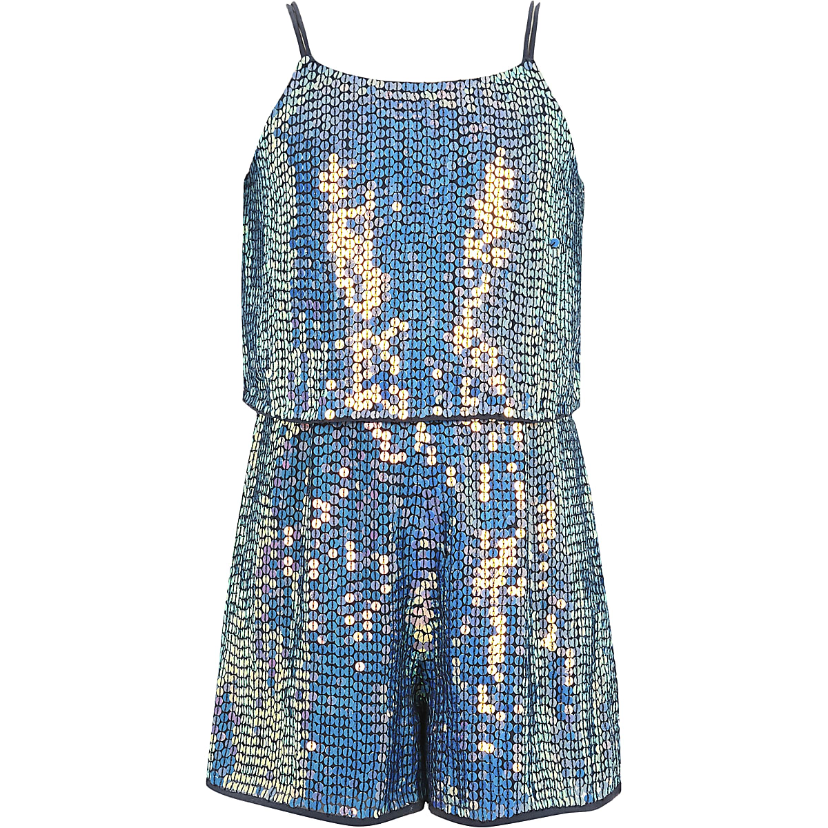sports shoes 1c3da 0ac76 Girls blue sequin embellished playsuit