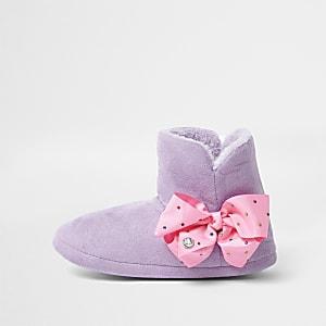 JoJo Bows – Chaussons bottes violets pour fille