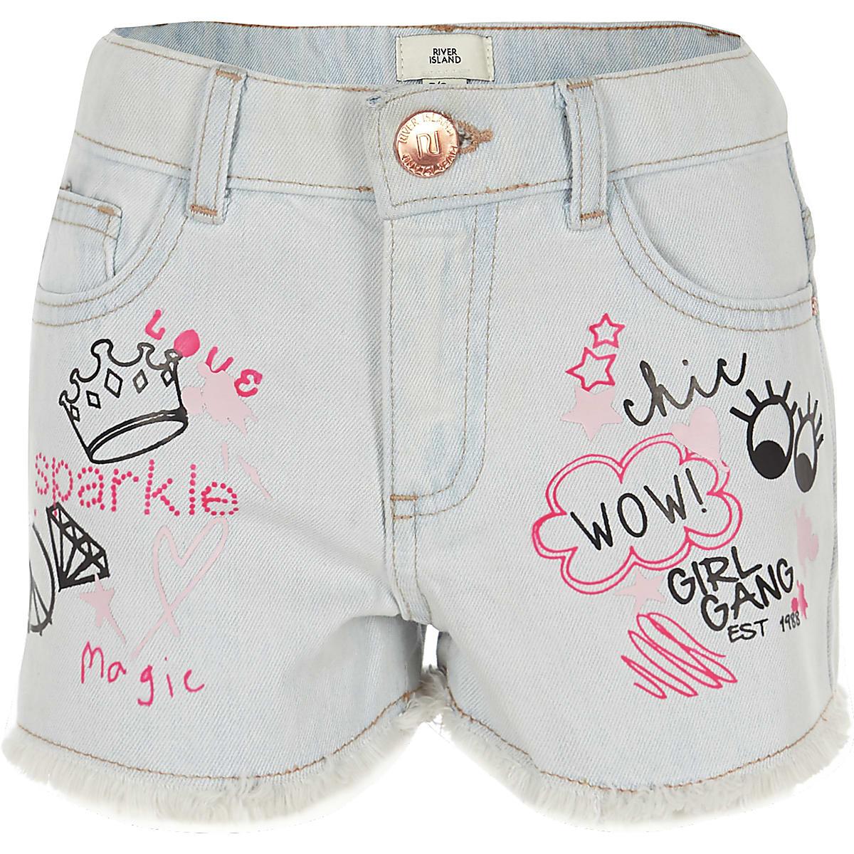 Girls blue pink print denim boyfriend shorts