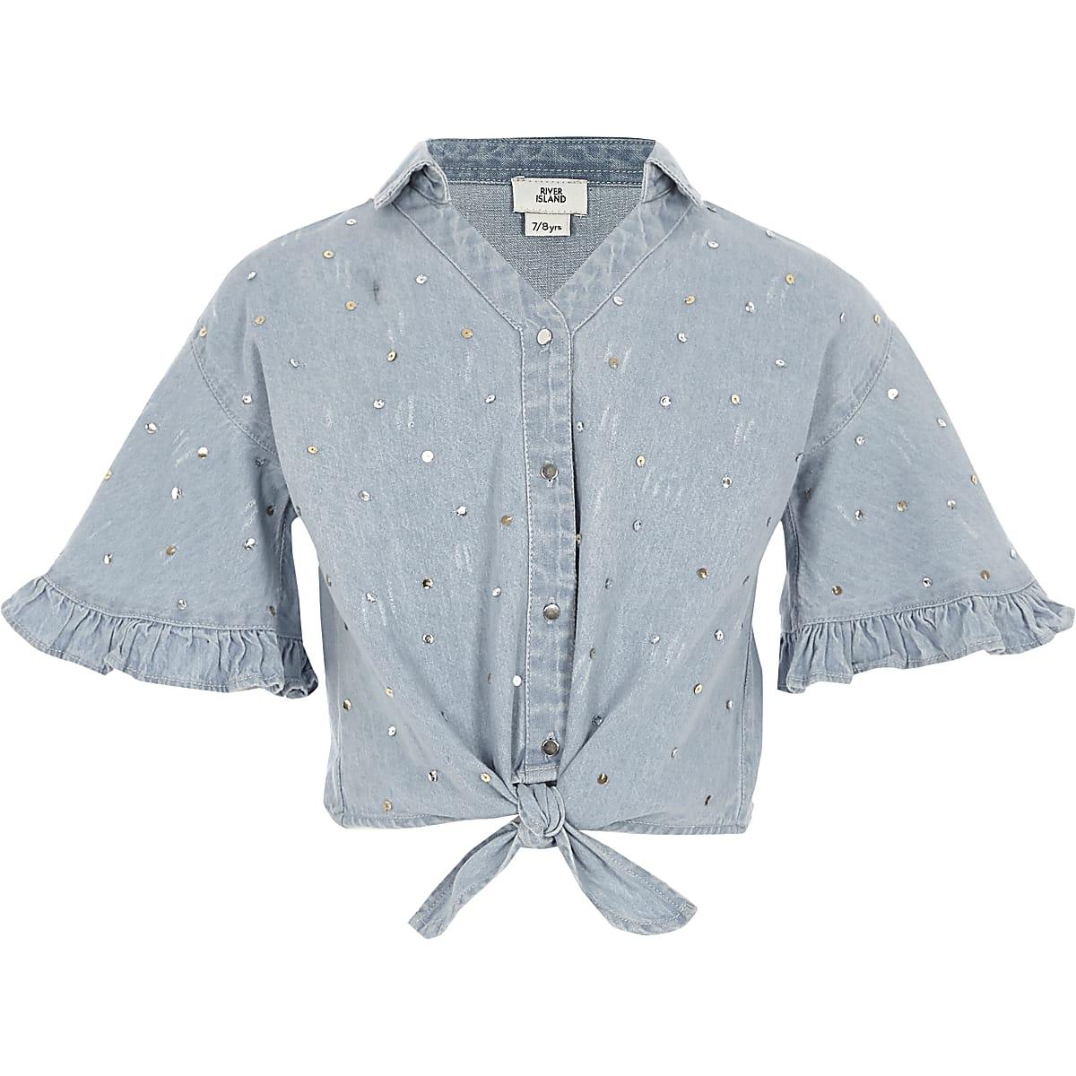 Girls denim sequin tie front shirt