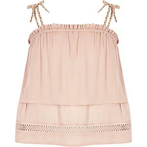 Caraco rose double épaisseur avec bretelles à pampilles pour fille