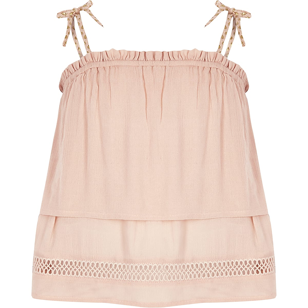 Roze camitop met twee lagen en kwastjes voor meisjes