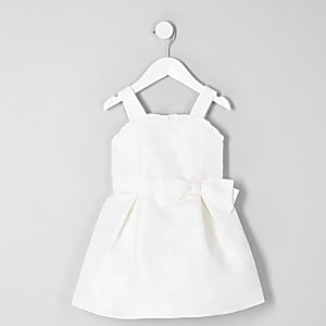Mini girls white jacquard flower girl dress