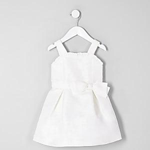 Robe de demoiselle d'honneur en jacquard blanc mini fille