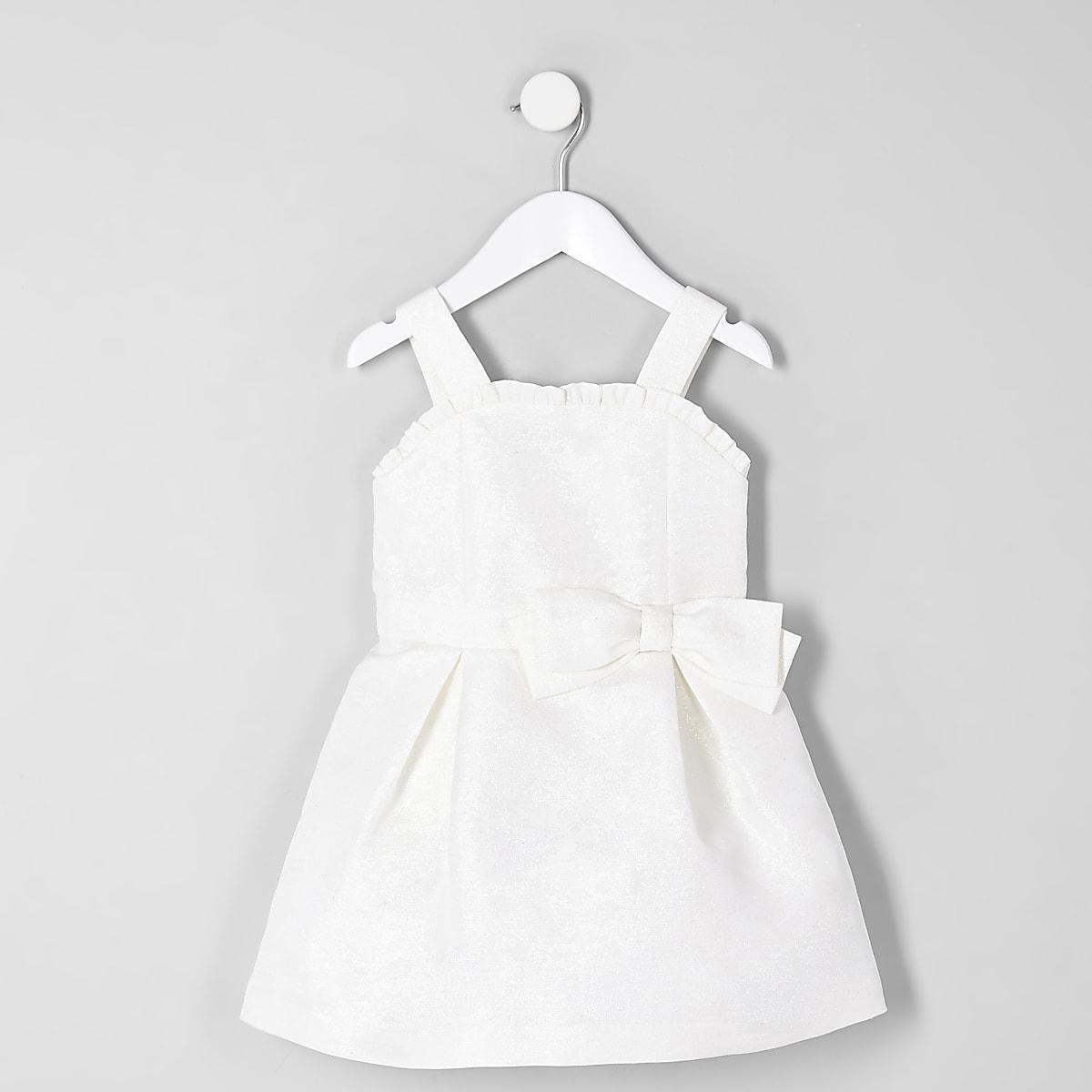 Mini girls white jacquard flower girl dress