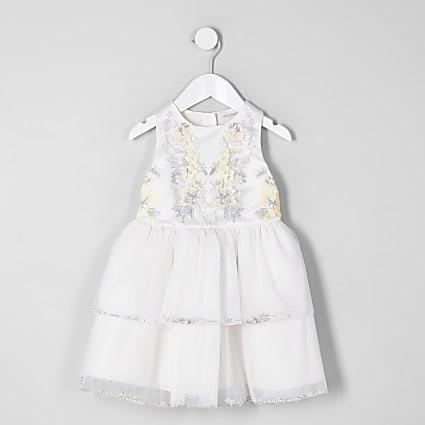 Mini girls cream embellished tiered dress