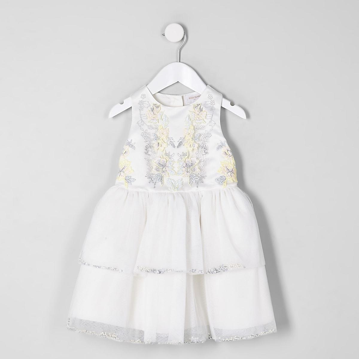 Mini - Crème verfraaide gelaagde jurk voor meisjes