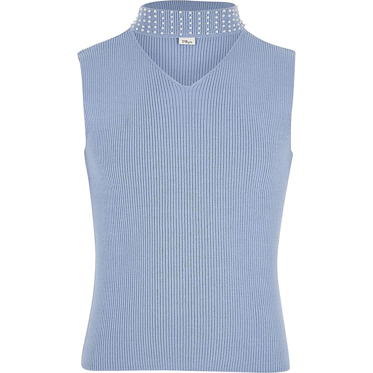 Girls blue rib knit embellished choker top