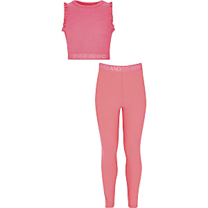 Girls RI pink cropped top and leggings outfit
