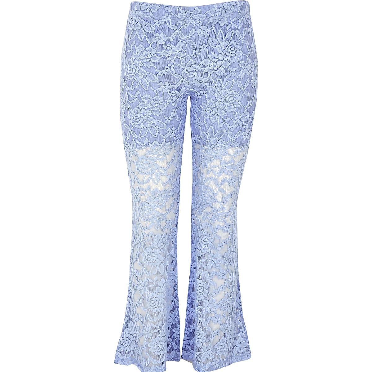 Girls light blue lace floral leggings