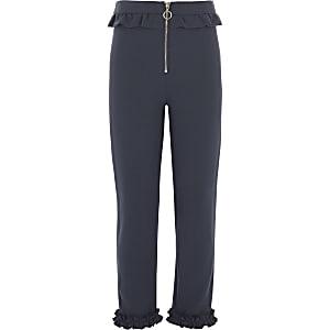 Girls navy frill zip cigarette pants