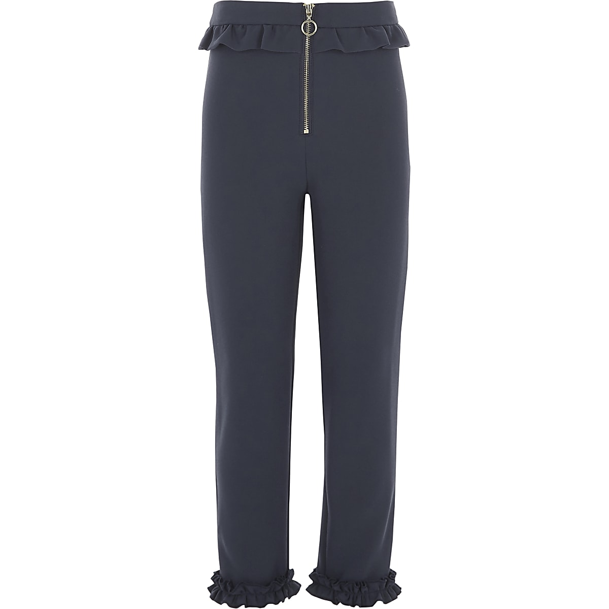 Girls navy frill zip cigarette trousers