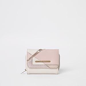 Roze metallic uitvouwbare portemonnee met glitter voor meisjes